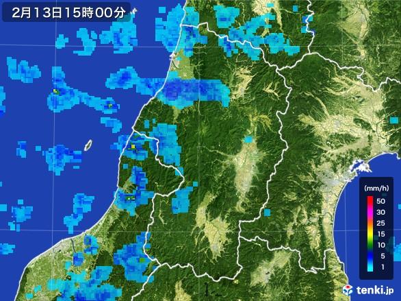 山形県の雨雲レーダー(2017年02月13日)