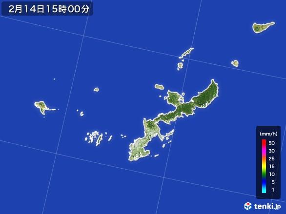 沖縄県の雨雲レーダー(2017年02月14日)