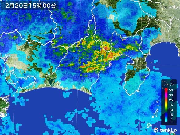 静岡県の雨雲レーダー(2017年02月20日)