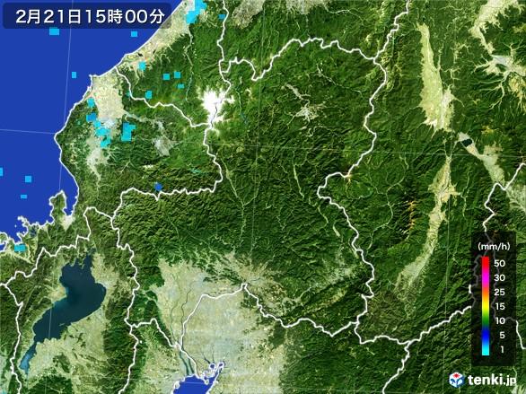 岐阜県の雨雲レーダー(2017年02月21日)