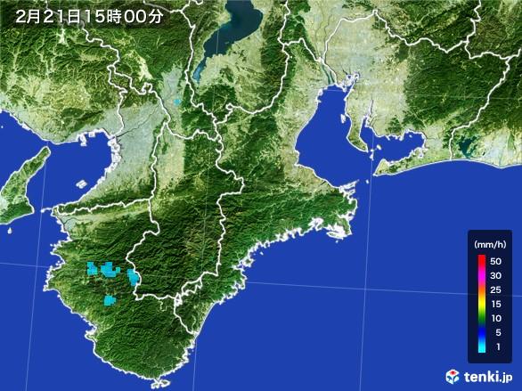 三重県の雨雲レーダー(2017年02月21日)
