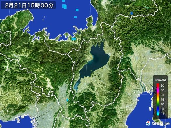 滋賀県の雨雲レーダー(2017年02月21日)