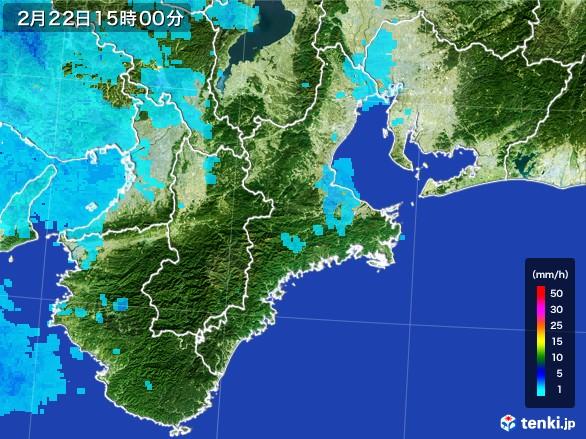 三重県の雨雲レーダー(2017年02月22日)