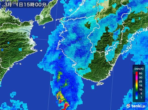 和歌山県の雨雲レーダー(2017年03月01日)