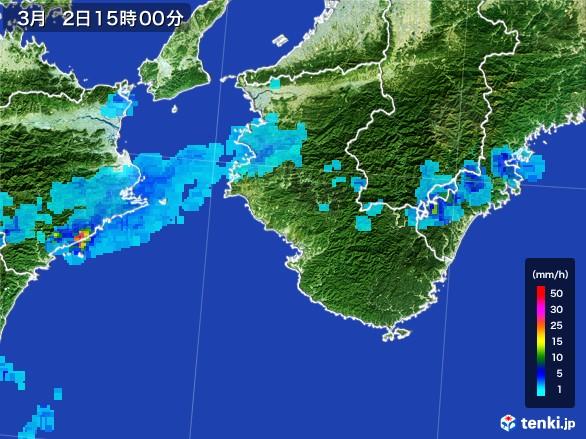 和歌山県の雨雲レーダー(2017年03月02日)