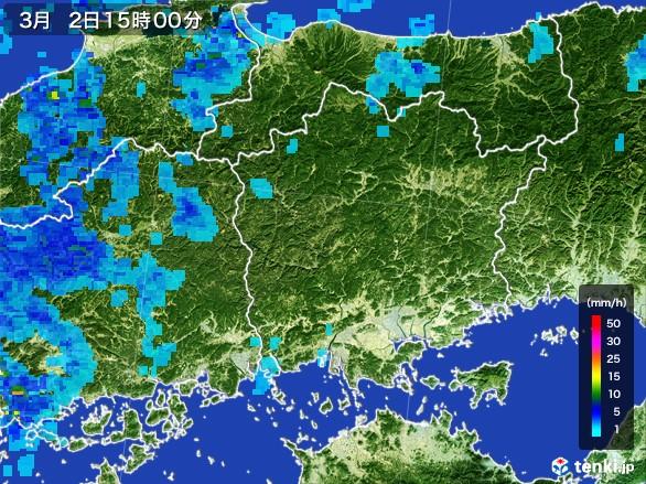 岡山県の雨雲レーダー(2017年03月02日)