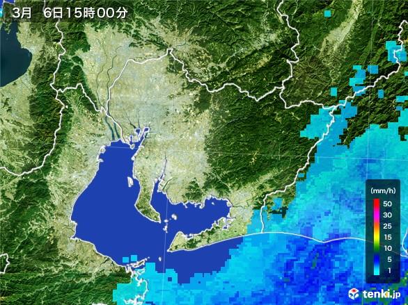 愛知県の雨雲レーダー(2017年03月06日)