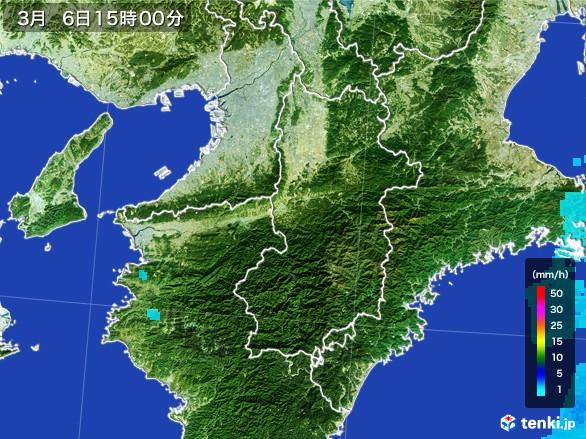 奈良県の雨雲レーダー(2017年03月06日)
