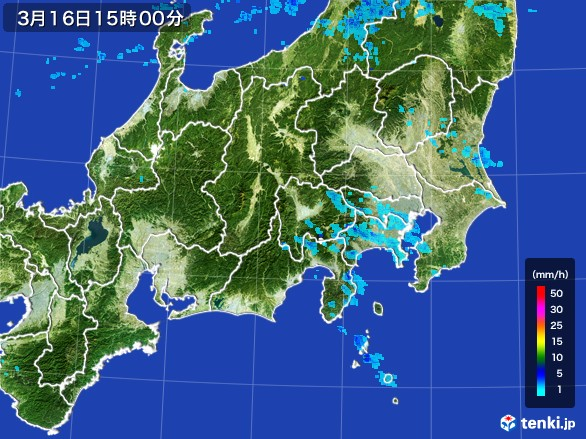 関東・甲信地方の雨雲の動き(2017年03月16日)