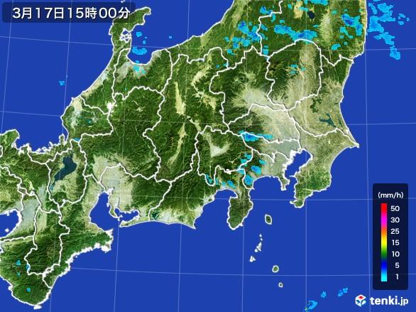 関東・甲信地方の雨雲の動き(2017年03月17日)