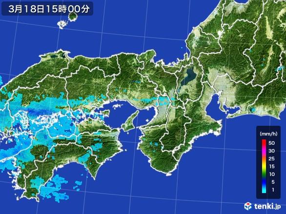近畿地方の雨雲の動き(2017年03月18日)