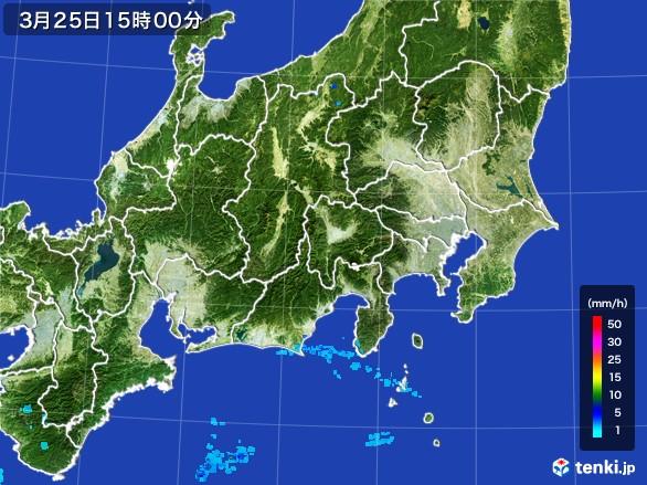 関東・甲信地方の雨雲の動き(2017年03月25日)