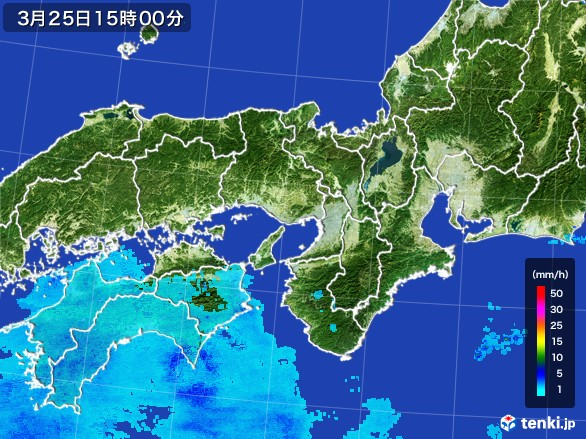近畿地方の雨雲の動き(2017年03月25日)