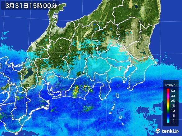 関東・甲信地方の雨雲の動き(2017年03月31日)