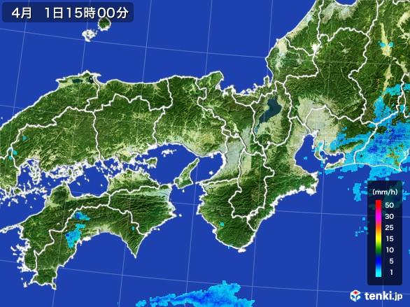 近畿地方の雨雲の動き(2017年04月01日)