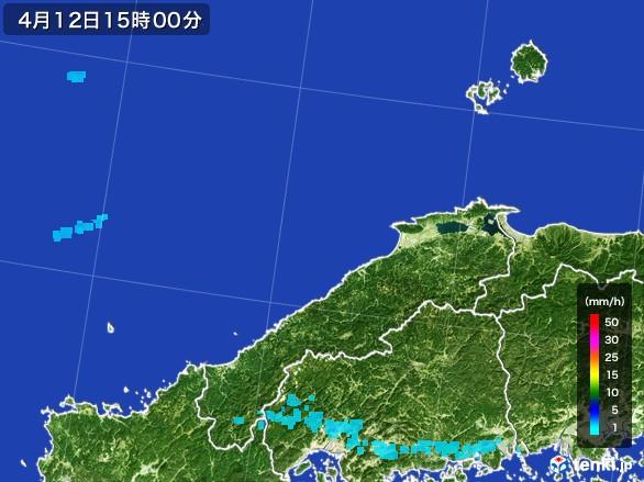 島根県の雨雲の動き(2017年04月12日)