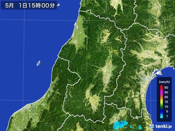 山形県の雨雲レーダー(2017年05月01日)