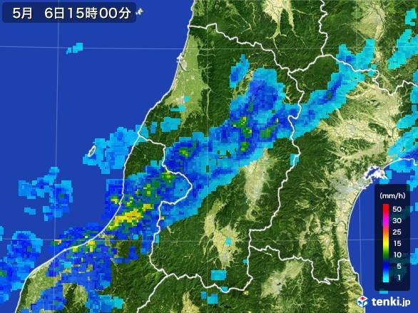 山形県の雨雲レーダー(2017年05月06日)