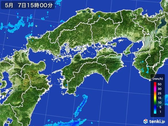 四国地方の雨雲の動き(2017年05月07日)