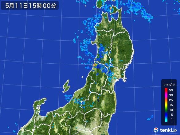 東北地方の雨雲レーダー(2017年05月11日)