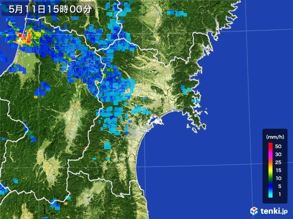 宮城県の雨雲レーダー(2017年05月11日)