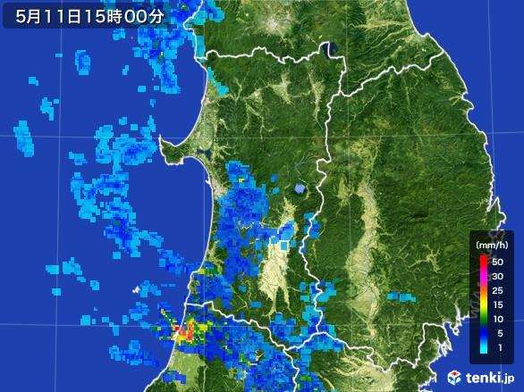 秋田県の雨雲レーダー(2017年05月11日)