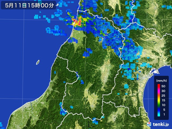 山形県の雨雲レーダー(2017年05月11日)