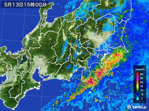 関東・甲信地方の雨雲レーダー(2017年05月13日)
