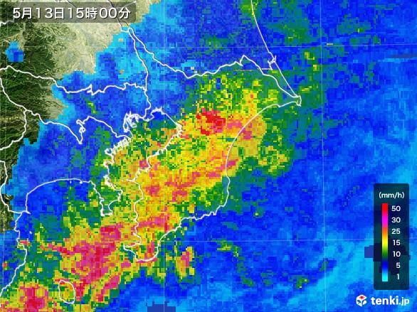 千葉県の雨雲レーダー(2017年05月13日)