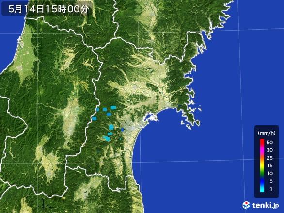 宮城県の雨雲レーダー(2017年05月14日)