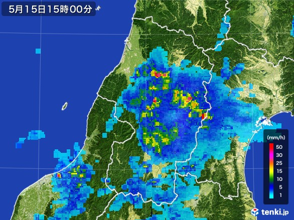 山形県の雨雲レーダー(2017年05月15日)
