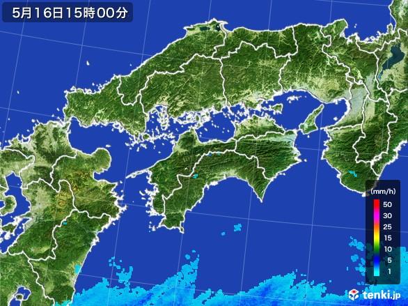 四国地方の雨雲の動き(2017年05月16日)