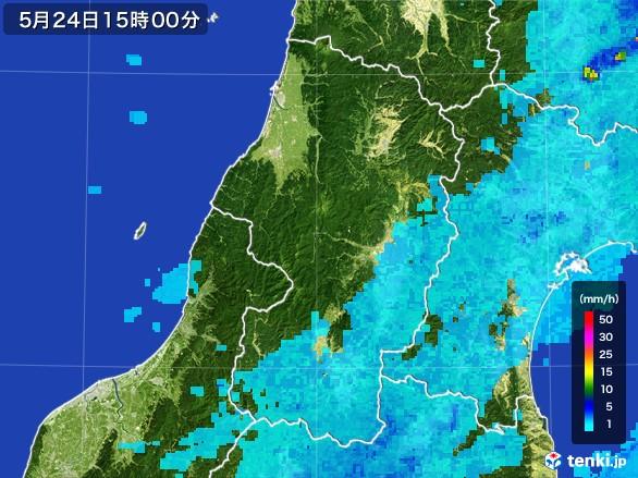 山形県の雨雲レーダー(2017年05月24日)
