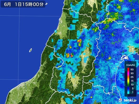 山形県の雨雲レーダー(2017年06月01日)