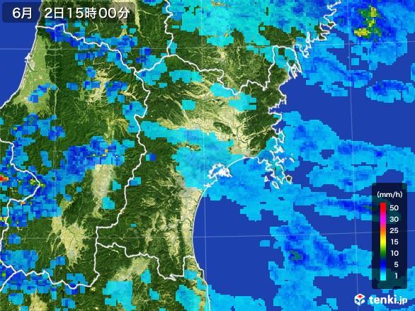 宮城県の雨雲レーダー(2017年06月02日)