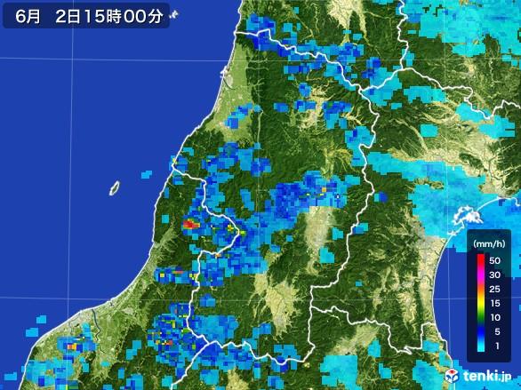 山形県の雨雲レーダー(2017年06月02日)