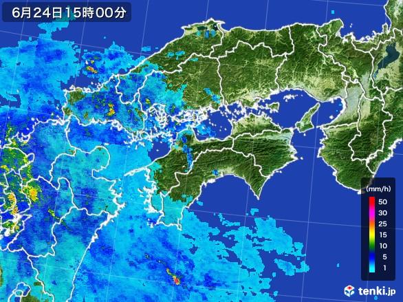 四国地方の雨雲レーダー(2017年06月24日)