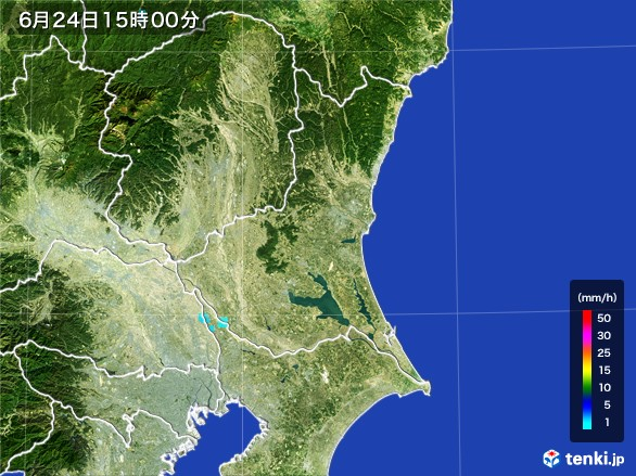 茨城県の雨雲レーダー(2017年06月24日)