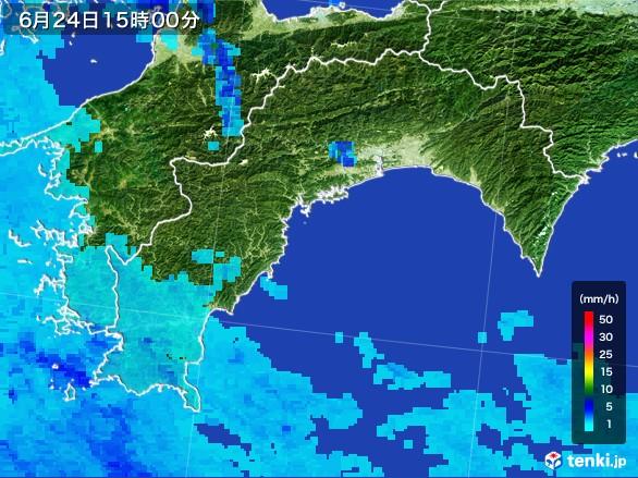 高知県の雨雲レーダー(2017年06月24日)