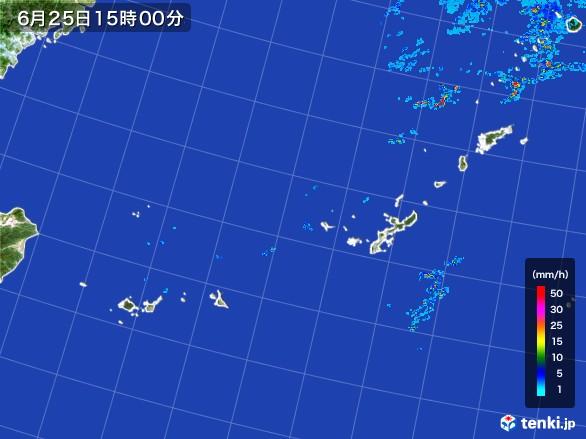 沖縄地方の雨雲レーダー(2017年06月25日)