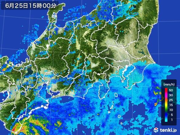 関東・甲信地方の雨雲レーダー(2017年06月25日)