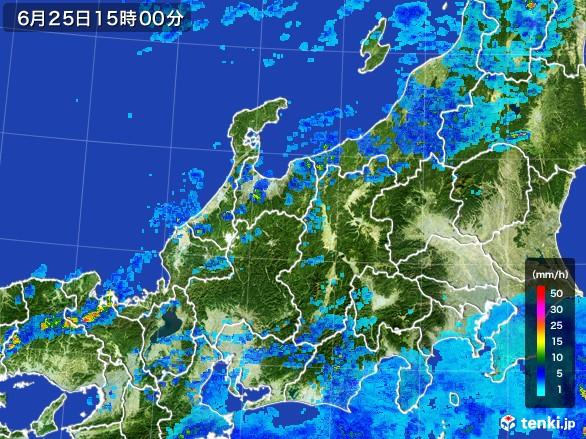 北陸地方の雨雲レーダー(2017年06月25日)