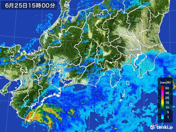 東海地方の雨雲レーダー(2017年06月25日)