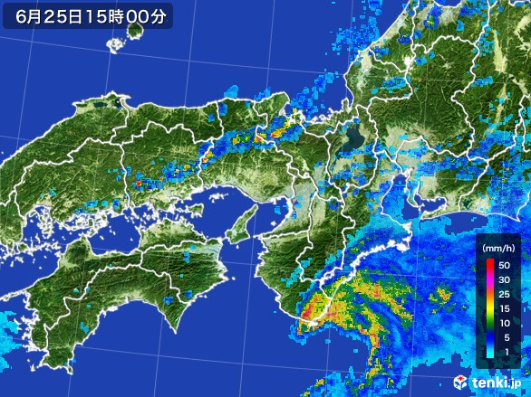 近畿地方の雨雲レーダー(2017年06月25日)