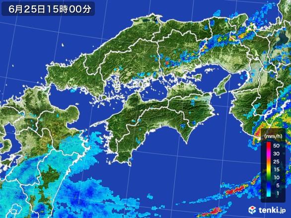 四国地方の雨雲レーダー(2017年06月25日)