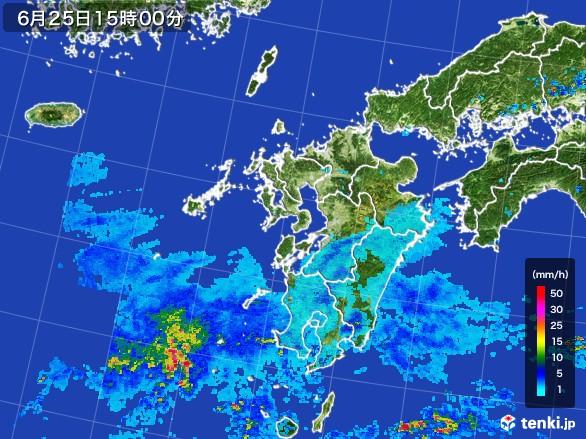 九州地方の雨雲レーダー(2017年06月25日)