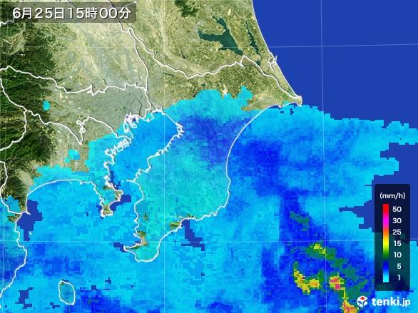 千葉県の雨雲レーダー(2017年06月25日)
