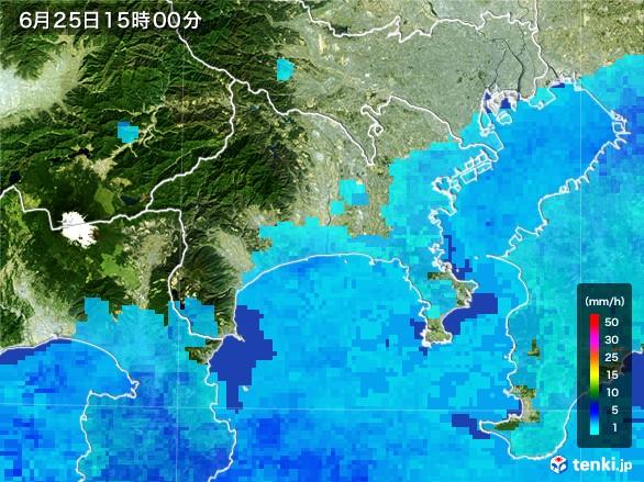 神奈川県の雨雲レーダー(2017年06月25日)