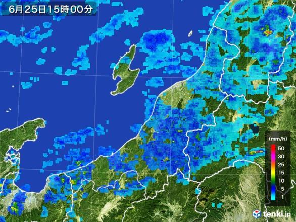 新潟県の雨雲レーダー(2017年06月25日)