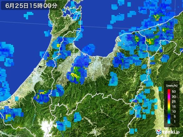 富山県の雨雲レーダー(2017年06月25日)